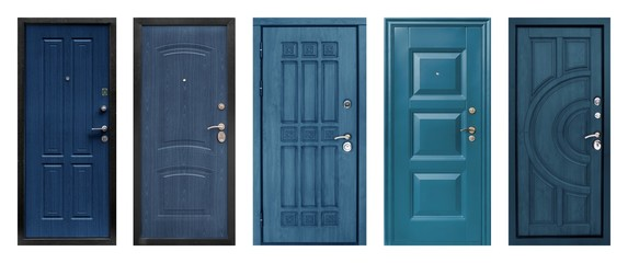 Set of models of entrance metal doors isolated on white background Wall mural