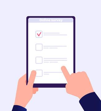Online survey. Internet surveying list hand holding tablet web test form. Mobile questionnaire customers voting application vector. Checklist online, check screen survey, questionnaire list