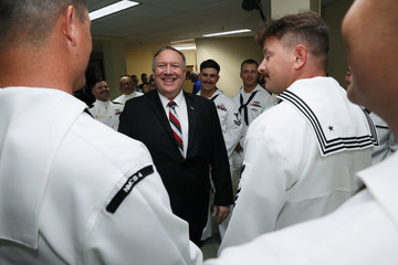 U.S. Secretary of State Pompeo meets U.S. Navy sailors in a brief reception at Pohnpei International Airport in Kolonia, Federated States of Micronesia