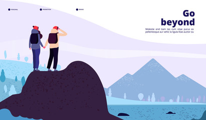 Outdoor adventure landing. Couple with backpack climbing mountain looking new horizon. Healthy lifestyle tourism web vector page. Illustration of adventure hiking, man tourist travel trekking