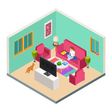 Vector freelance, remote work isometric concept. Woman work from home in living room. Freelancer with computer sit on sofa, woman freelance illustration