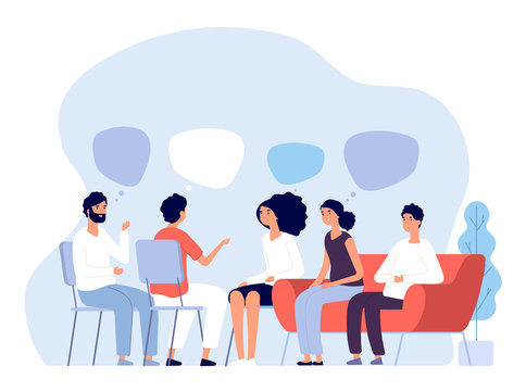 Addiction treatment concept. Group therapy, people counseling with psychologist, persons in psychotherapist sessions. Vector image. Illustration psychologist counseling group patient