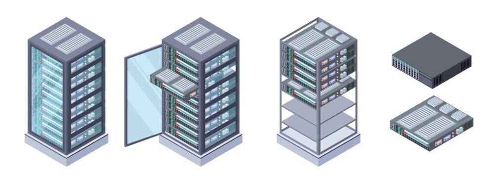 Isometric servers, data storages vector. 3D computer equipment isolated on white background. Storage database, equipment server network, big data safe illustration