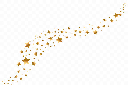Falling golden stars. Cloud of golden stars isolated on transparent background. Vector illustration