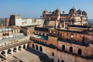 17th century Citadel of Jahangir with towers and arches, Orchha in India. Example of mix of Indian and Mughal style of architecture