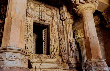 Interior of Shive temple in Khajuraho, India. Artworks, columns, reliefs and altar in the 10th century hindu temple. UNESCO Heritage site