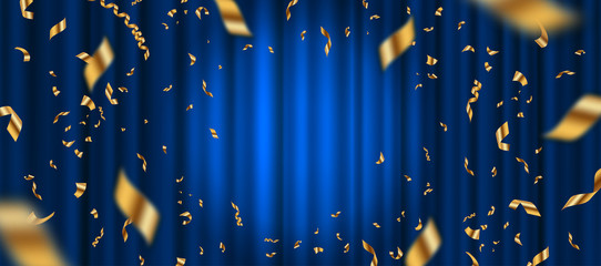Spotlight on blue curtain background and falling golden confetti. Vector illustration.