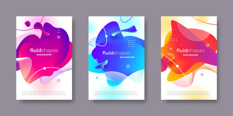 Set of banner with abstract modern fluid shapes with gradient color. Different liquid shape and line elements. Abstract design for poster, flyer, brochure, cover, magazine and etc.