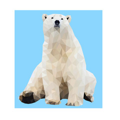 Polygon vector cute polar bear