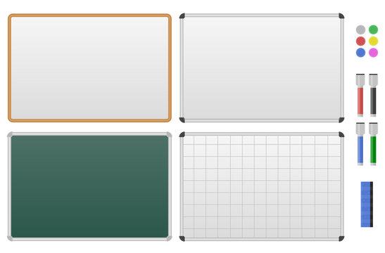 Set of magnetic marker boards.