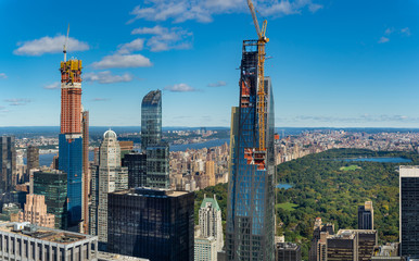 Aerial  view of Central park and skyscrapers of New York .