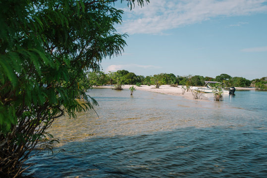 Secluded river beach in Alter do Chao, Para, Brazil
