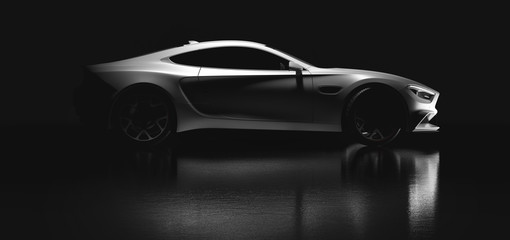 Modern white sports car on black background. Side view