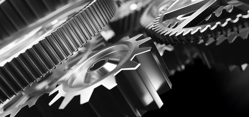 Gears and cogs mechanism. Industrial machinery
