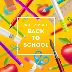Back to school greeting - design with stationery items. Vector illustration.