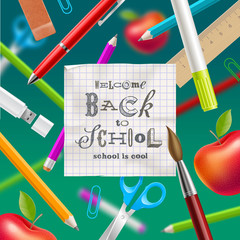 Back to school  - greeting design with hand drawn lettering and stationery items. Vector illustration.
