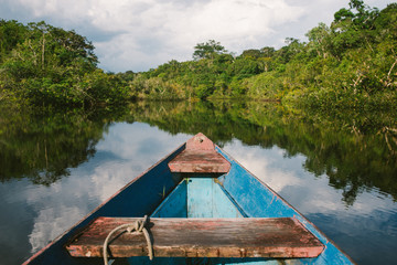 Canoeing through the flooded Amazon Jungle
