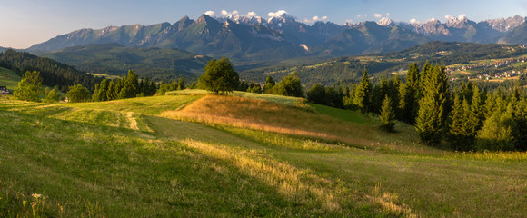 Panorama of the Tatra Mountains seen on a summer morning