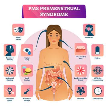 PMS or Premenstrual Syndrome vector illustration educational symptom scheme