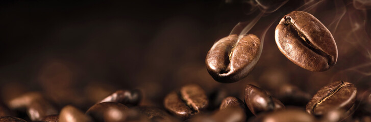 Fotobehang Macrofotografie Coffee Beans Closeup On Dark Background