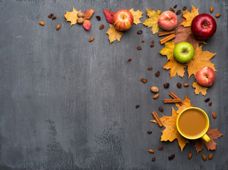 Wall Mural - Seasonal autumn background. Frame of colorful maple leaves, peaches and apples over grey