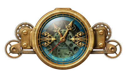 Steampunk clock illustration Fototapete