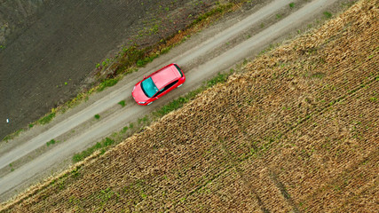Top view of a field with wheat and a red car moving on the rural road. Aerial view from drone Wall mural