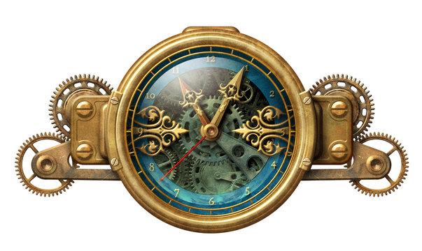 Steampunk clock illustration