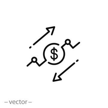 cost reduce or increase icon, risk analysis, benefit dollar concept, arrows save price, salary, thin line symbol for web and mobile phone on white background - editable stroke vector illustration