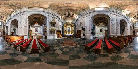 Photo sur Aluminium Lieu de culte full seamless spherical hdri panorama 360 degrees angle view inside of interior baroque catholic church of saint trinity in equirectangular projection, ready AR VR content