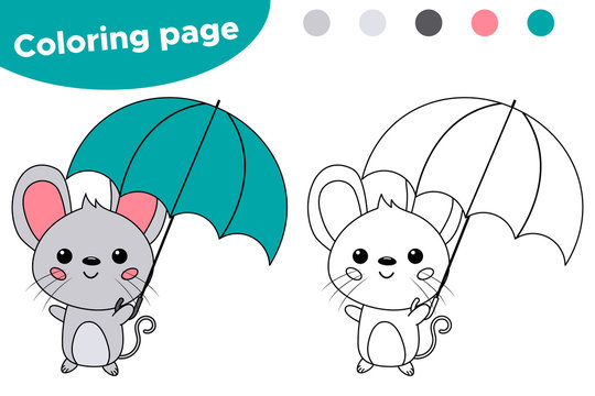 Cute cartoon kawaii mouse with umbrella. Autumn theme. Coloring page or book. Educational game for kids.