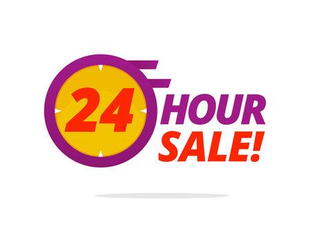24 hour sale badge vector illustration for social media promotion poster design