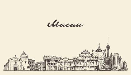 Fototapete - Macau skyline China hand drawn vector sketch