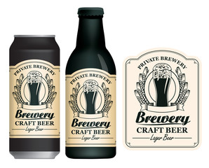 Vector label for craft beer in retro style on light background, decorated by wheat or barley ears and overflowing glass of frothy beer. Sample beer label on beer can and beer bottle