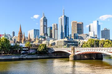 Princes bridge and Melbourne skyline in Melbourne Victoria Australia
