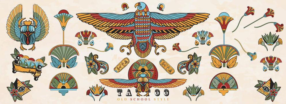Ancient Egypt. Old school tattoo collection. Egyptian ancient elements. Sacred scarab, Horus falcon, pyramids, magic eye, ethnic ornaments. Traditional tattooing style