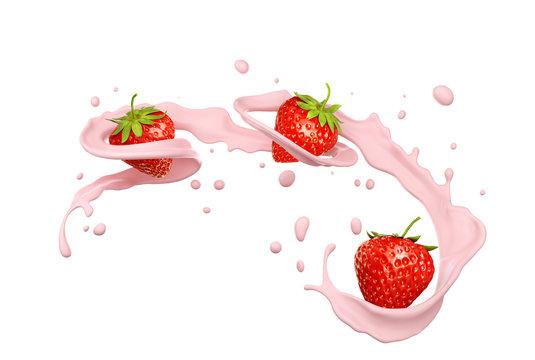 milk splash with strawberry isolated on white background, 3d illustration.