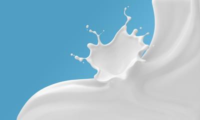 Milk ripple splash background, 3d rendering.