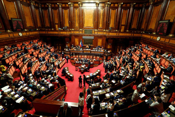 A general view of the Senate hall as the Italy's government is set to face Senate confidence vote on security and immigration decree in Rome