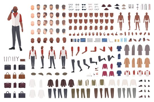 African American man creation set or avatar kit. Collection of male body parts in different poses, clothes isolated on white background. Front, side, back views. Flat cartoon vector illustration.