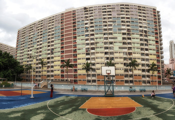 Hong Kong's colorful housing estate with Basketball court
