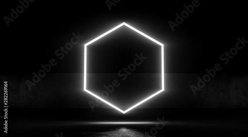 Hexagon Neon Glowing Light On Dark Abstract Background 3d
