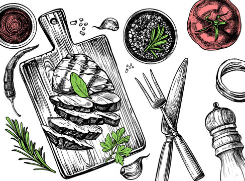 Barbecue grill hand drawn food set
