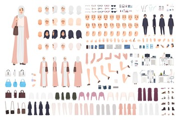 Young Arab business woman constructor set or creation kit. Bundle of female office worker body parts, emotions, traditional clothes isolated on white background. Flat cartoon vector illustration.
