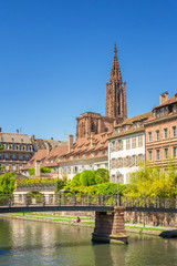 Cityscape of Strasbourg with the Cathedrale Note Dame, France