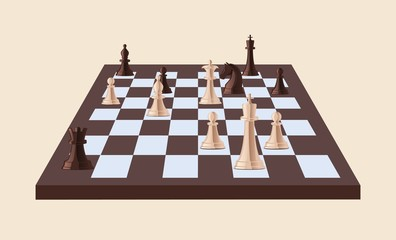Black and white chess pieces on chessboard isolated on light background. Strategy game played on checkered board. Leisure activity, competition or tournament. Vector illustration in cartoon style.