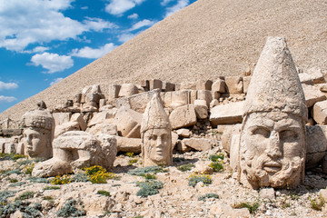 Turkey: the west terrace of Nemrut Dagi, Mount Nemrut, where in 62 BCE King Antiochus I Theos of Commagene built a tomb-sanctuary flanked by huge statues of himself and Greek, Armenian and Median gods