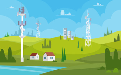 Communication towers. Wireless antennas cellular wifi radio station broadcasting internet channel receiver vector cartoon background. Illustration of connection antenna wireless, signal transmitter Fototapete