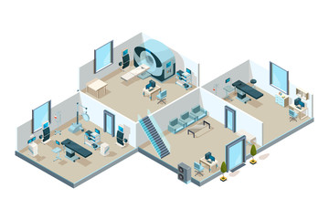 Clinic interior. Hospital patients medical rooms with equipment creative laboratory vector low poly isometric picture. Illustration of medical interior hospital, health medicine