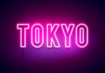 Tokyo neon sign. Bright light signboard. Vector banner.